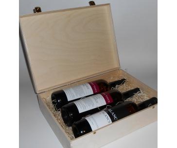 3 lahve vína z vinařství DOBRÁ VINICE v dřevěné kazetě – Cuvée Národní park 2015, Kambrium Cuvée 2014, Blanc de Blancs 2015