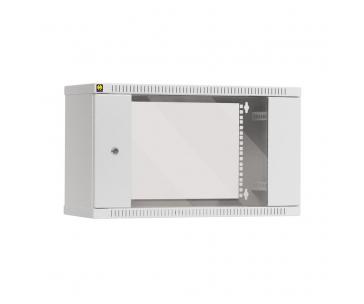 NETRACK 019-060-240-011 Závěsný datový rozvaděč 19 Netrack 6U/240 mm, skleněné dveře, barva šedá