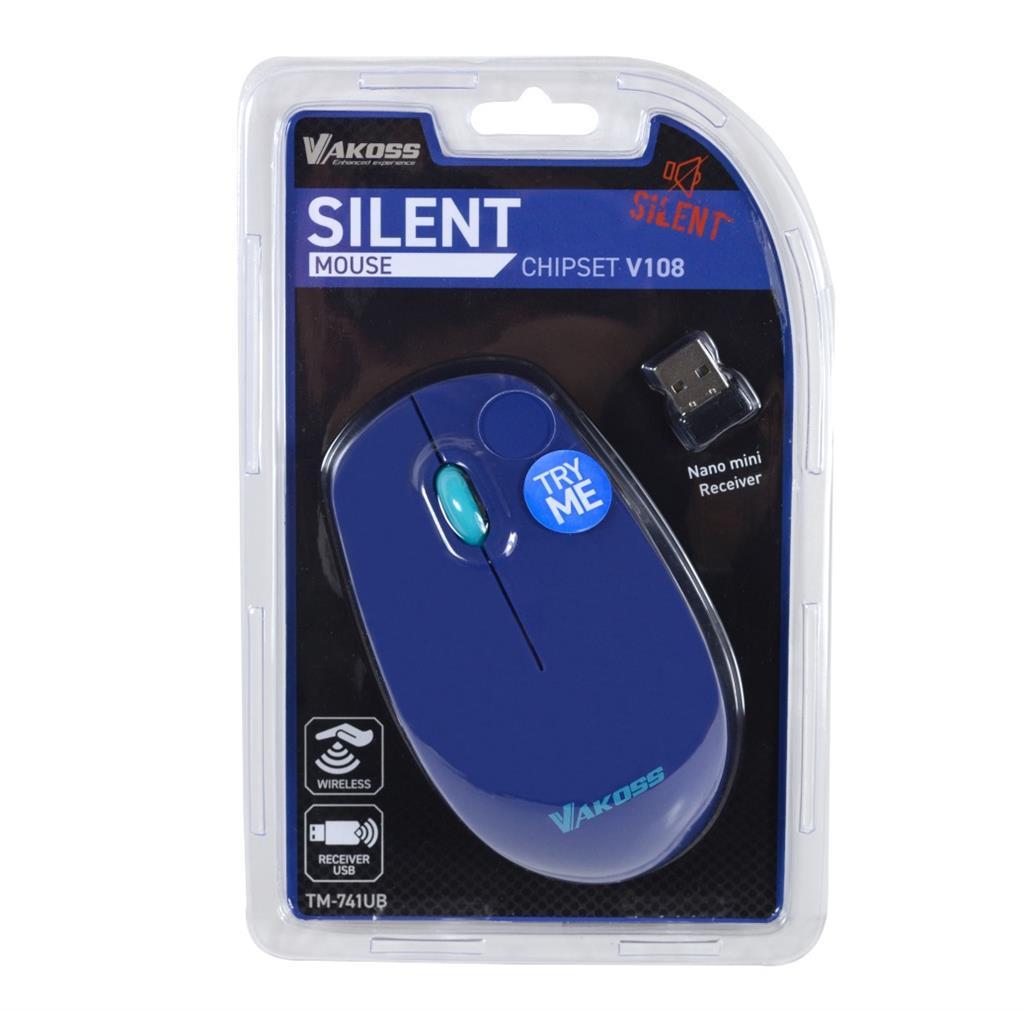 VAKOSS bezdrátová optická myš SILENT TM-741UB 3D, 1000DPI, 2.4GHz, modrá