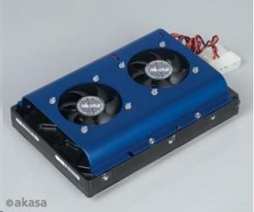 "AKASA HDD chladič pro 3,5"" HDD, 2x 50mm ventilátor"