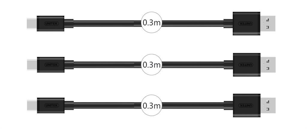 Unitek sada kabelů 3x USB 2.0 - micro USB 0.3m