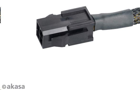 AKASA Kabel  redukce napájení z 4pin ATX 12V female na 8pin (4+4) ATX 12V male, 15cm