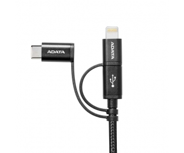 ADATA cable USB-USBC-mUSB 3in1 , charge and sync data on Android, black