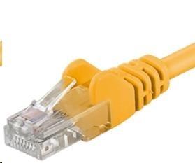 PREMIUMCORD Patch kabel UTP RJ45-RJ45 level 5e 0.25m žlutá