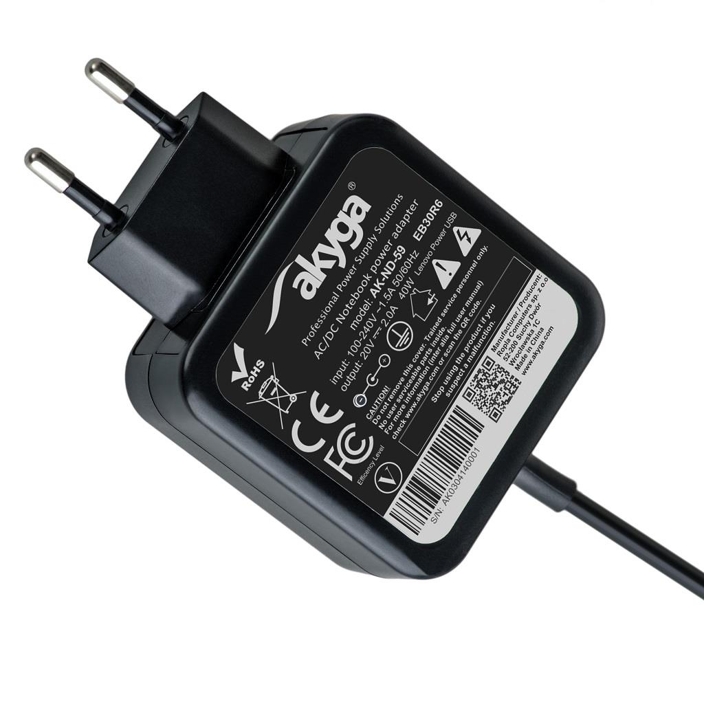 Akyga Notebook power supply AK-ND-59 20V/2.0A 40W Lenovo Power USB LENOVO