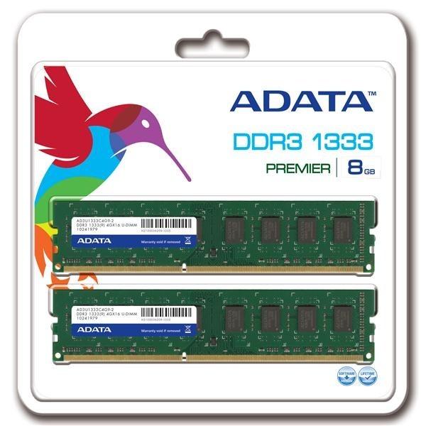 DIMM DDR3 8GB 1333MHz CL9 512x8 (KIT 2x4GB) ADATA, retail