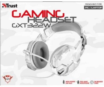 TRUST Sluchátka s mikrofonem GXGXT 322 Dynamic Headset - bílá kamufláž